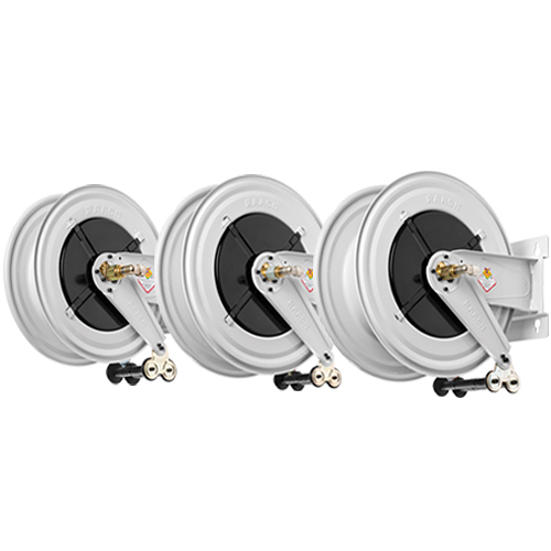 Double inlet-outlet hose reels