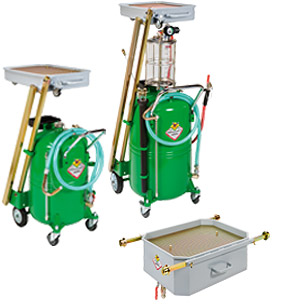 Gravity and suction drainers with pantograph and on a pit