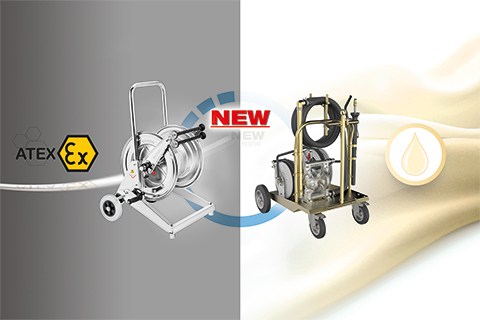 ATEX TROLLEY MOUNTED HOSE REELS AND SPECIAL SUCTION KITS
